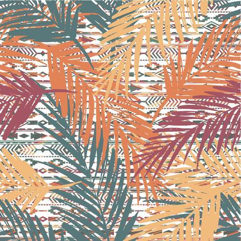 Modello esotico senza cuciture con foglie di palma su sfondo etnico. vettore