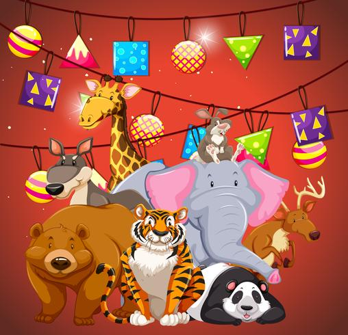 Animali selvatici con ornamenti in sottofondo vettore