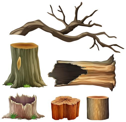 Set di legno di albero vettore
