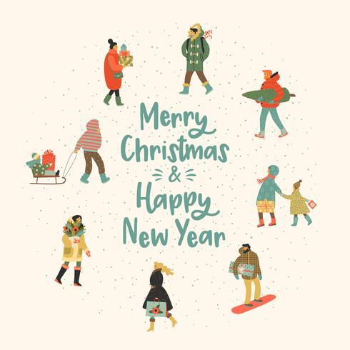 Persone di illustrazione di Natale e felice anno nuovo. Stile retrò alla moda. vettore