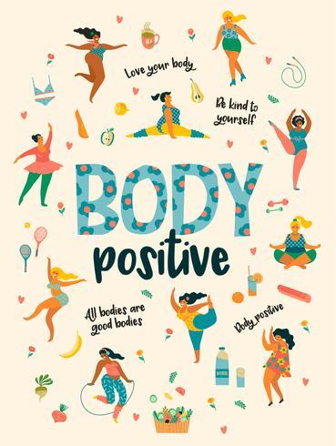Corpo positivo. Happy plus size ragazze e stile di vita attivo e sano. vettore