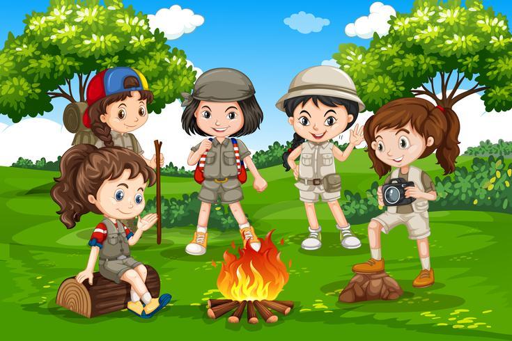 Camping bambini nella natura vettore