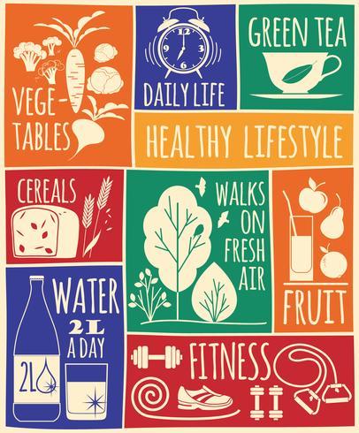 Set di icone di stile di vita sano vettore