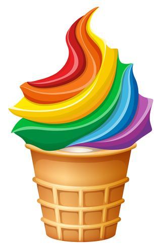 Gelato arcobaleno in cono vettore