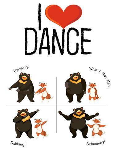 Mi piace ballare il concetto di ballo animale vettore