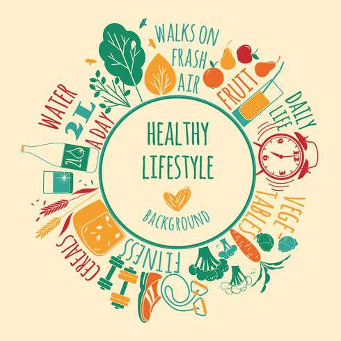 Illustrazione vettoriale di stile di vita sano.