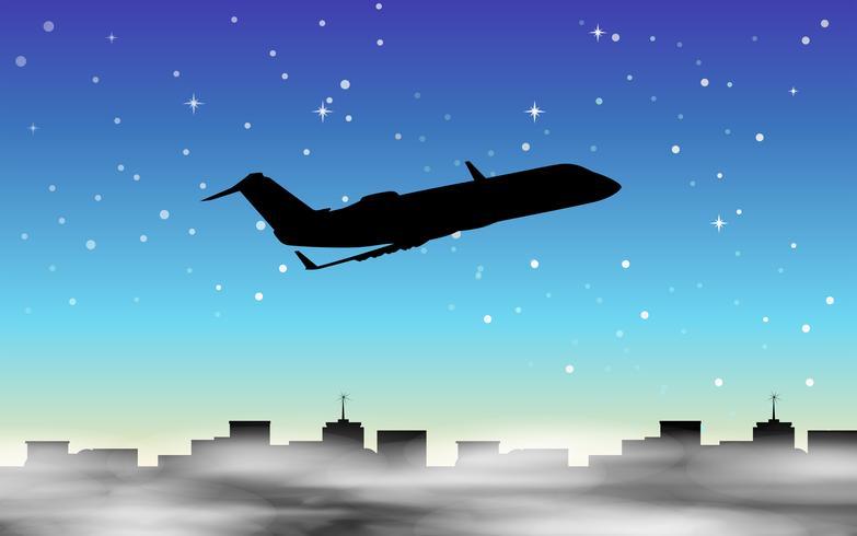 Scena della siluetta con l'aeroplano che vola in cielo nebbioso vettore