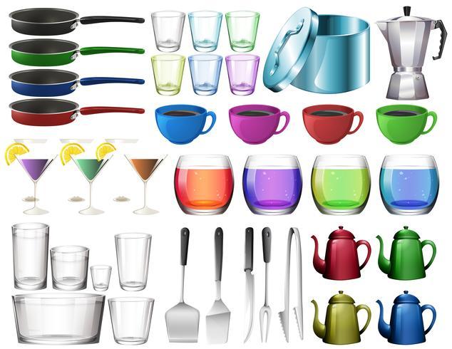 Utensili da cucina con bicchieri vettore