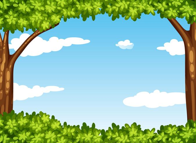 Scena della natura con albero e cielo vettore