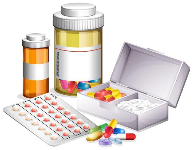 Varietà di medicine diverse vettore