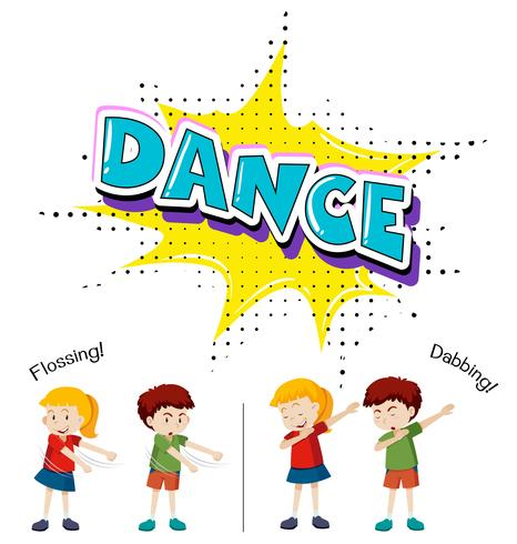 I bambini con movimenti di danza diversi vettore