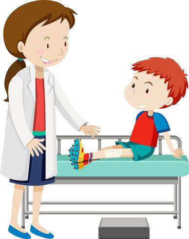 Un ragazzo ferito alla gamba vettore