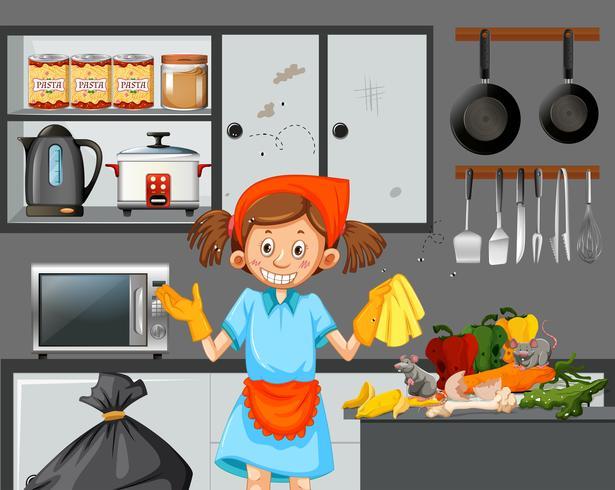 Una cameriera che pulisce una cucina sporca vettore
