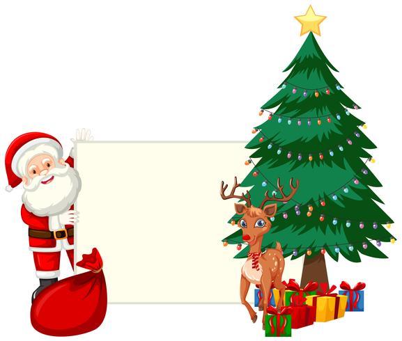 Santa in possesso di un pezzo di carta vettore