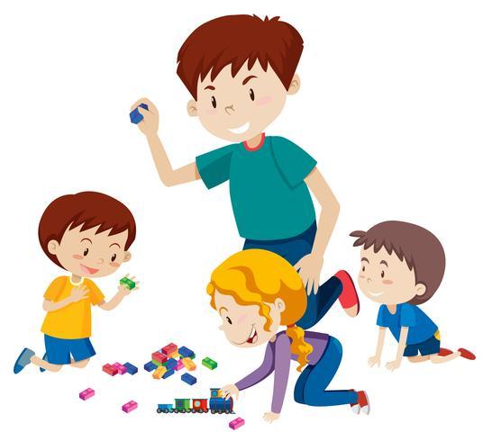 Papà che gioca a blocchi con i suoi figli vettore
