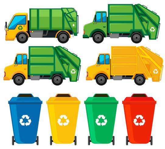 Lattine e camion della spazzatura vettore