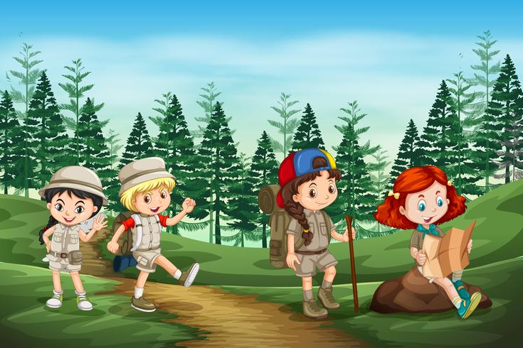 Gruppo di bambini da campeggio in natura vettore