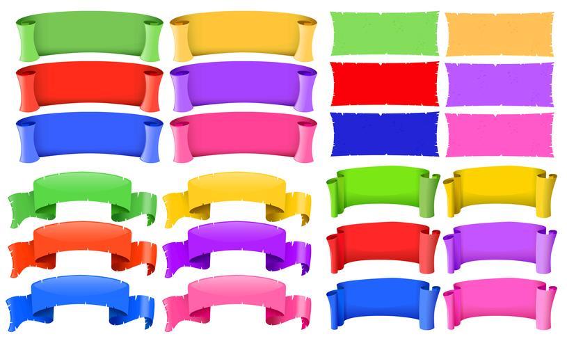 Modelli di banner in diversi colori vettore