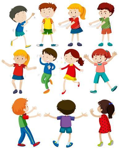 Set di bambini che ballano vettore