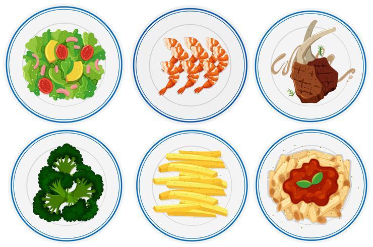Diversi tipi di cibo sui piatti vettore