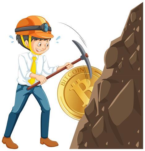 Una moneta cyber di estrazione mineraria del lavoratore vettore