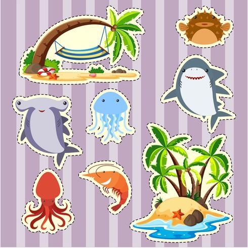 Sticker design dell'isola e pesce vettore