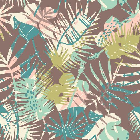 Modello esotico senza cuciture con piante tropicali. vettore