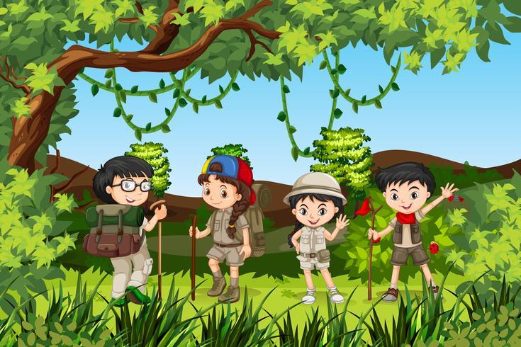 Gruppo di bambini escursionisti vettore