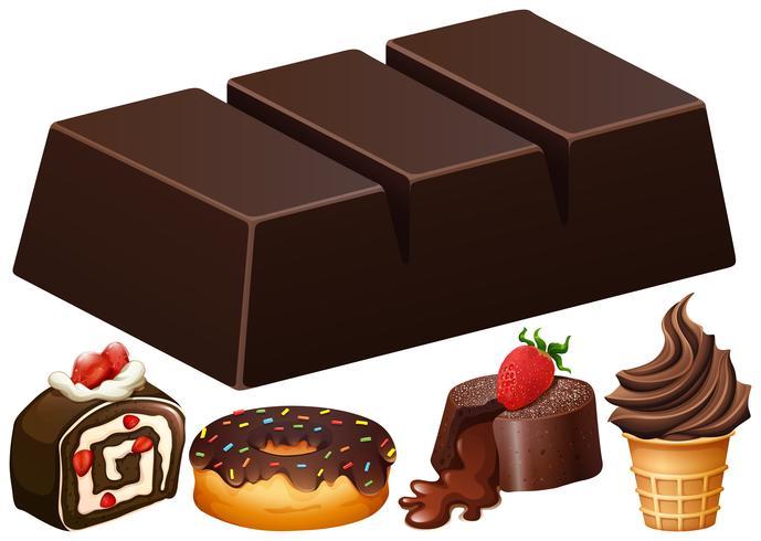 Diversi tipi di dessert al cioccolato vettore