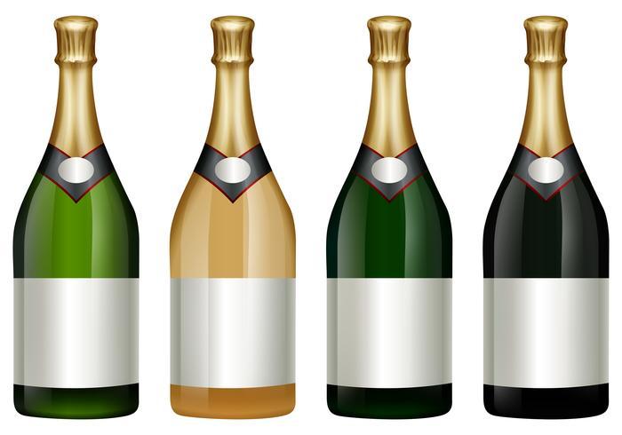 Quattro bottiglie di champagne con coperchio dorato vettore