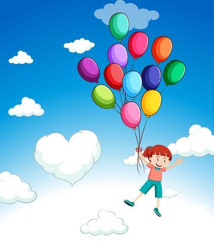 Ragazza che vola con palloncini nel cielo vettore