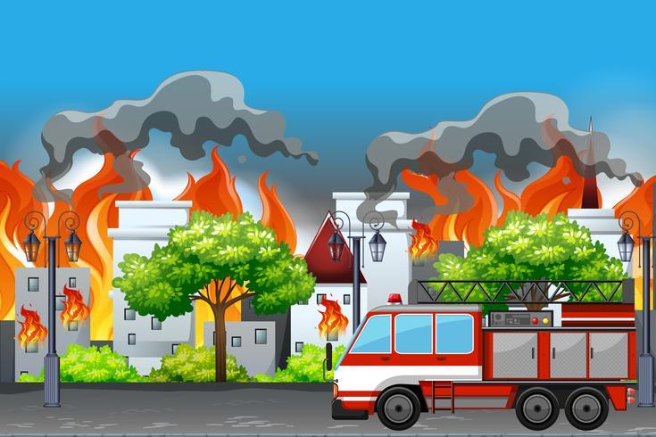 Fai fuoco nell'appartamento della città vettore