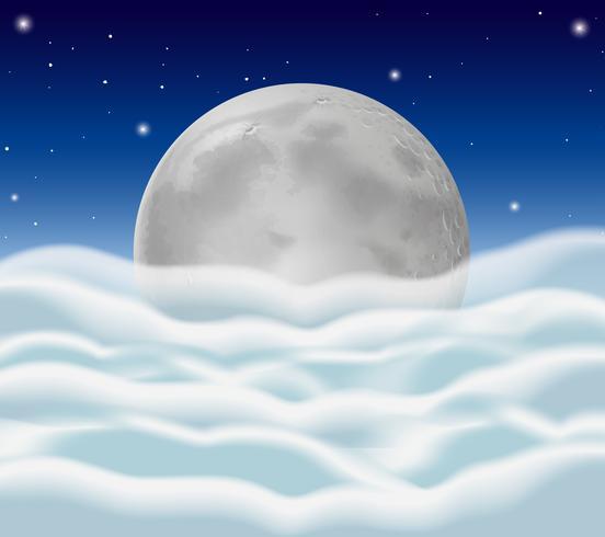 Fullmoon e soffici nuvole come sfondo vettore