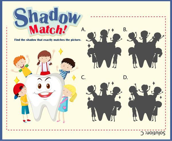 Modello di gioco con abbinamento di bambini e denti vettore