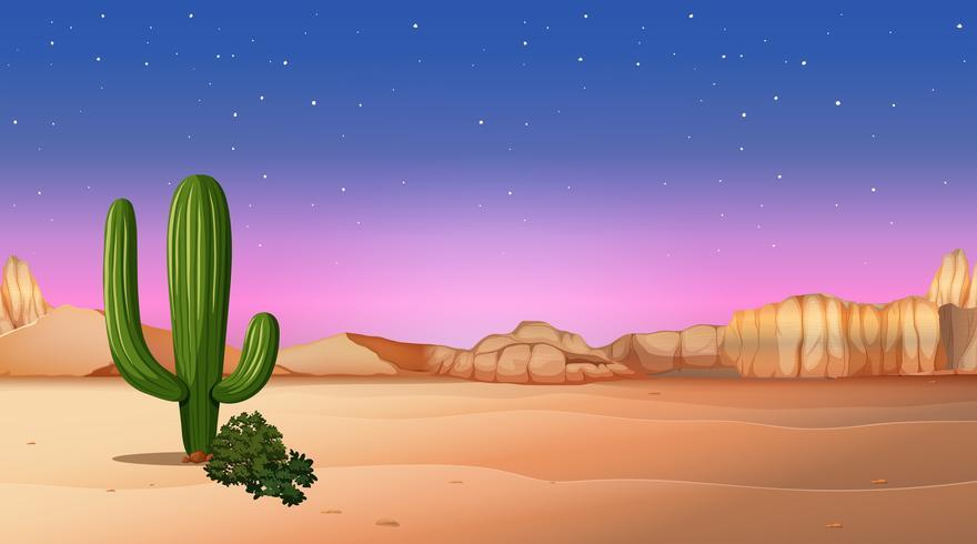 scena del deserto con il tramonto vettore
