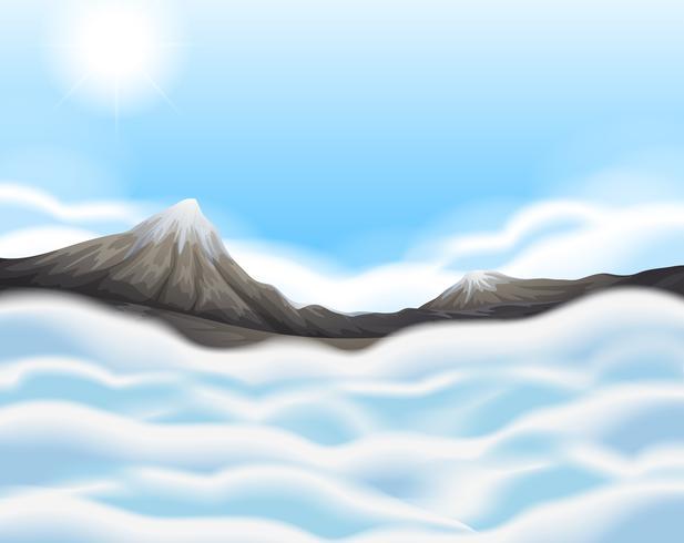 Scena di sfondo con neve in cima alle montagne vettore