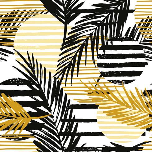 Seamless pattern esotico con palme ed elementi geometrici. vettore