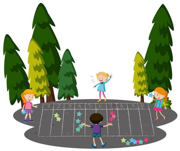 I bambini giocano a Math Game al Park vettore
