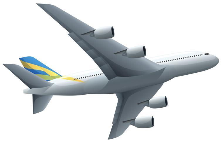 Volo dell'aeroplano su fondo bianco vettore