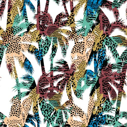 Modello esotico senza cuciture alla moda con palme e animali vettore
