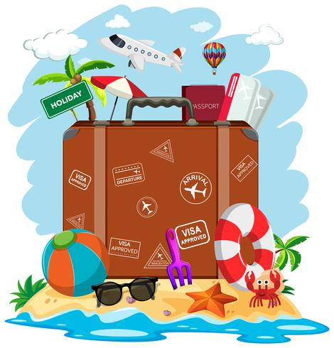 Una valigia in spiaggia d'estate vettore