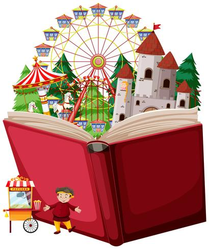 Parco divertimenti a libro aperto vettore
