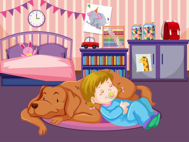 Un bambino dorme con un cane vettore