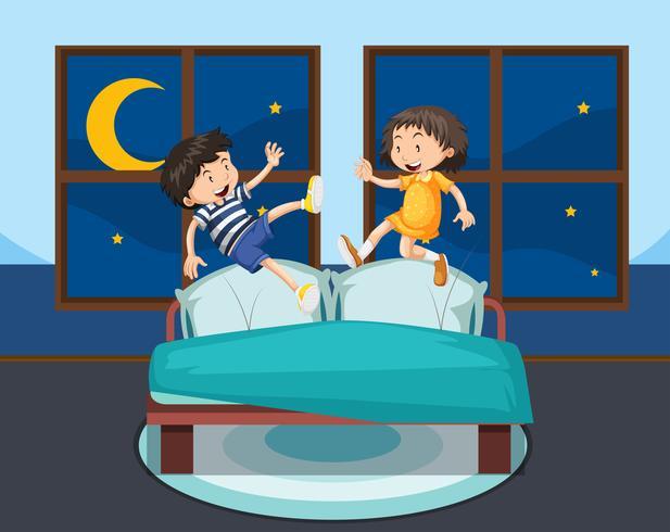 Ragazza e ragazzo che salta sul letto vettore