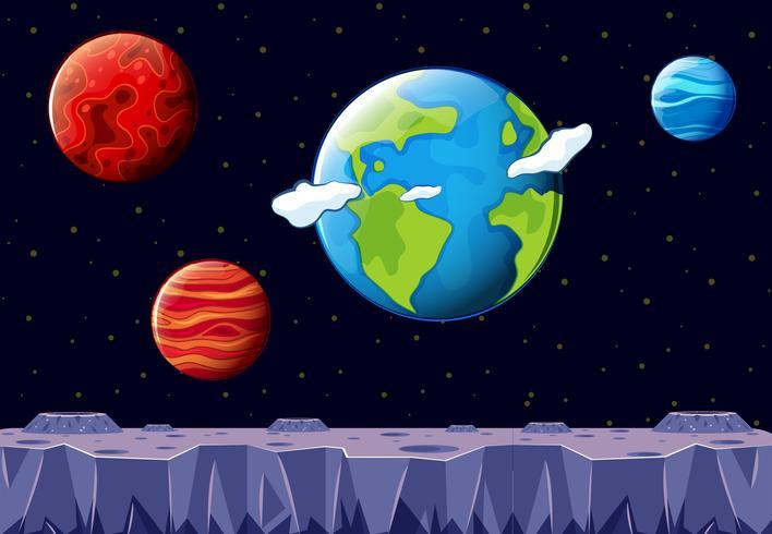 Una scena spaziale con la terra e l'altro pianeta vettore