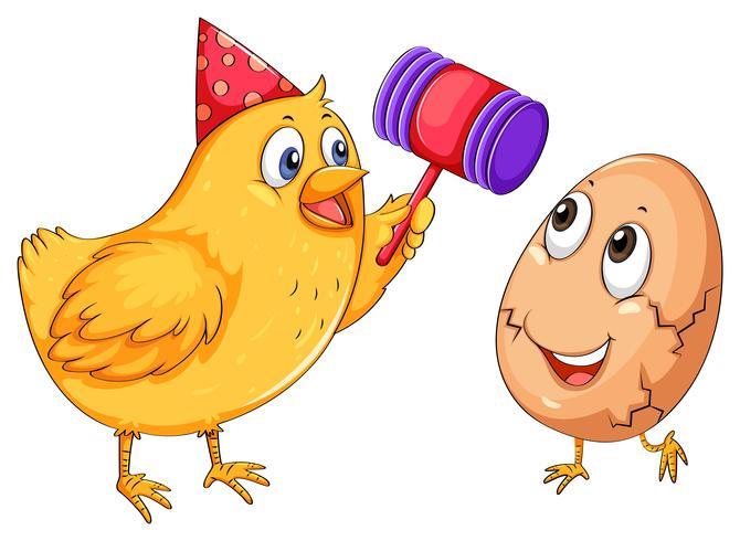 Uovo di pollo spezzato con martello vettore