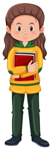 Un personaggio studentesco ragazza bruna vettore