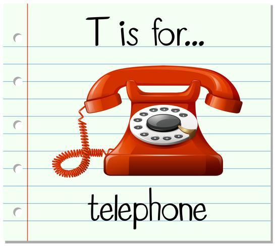 La lettera T di Flashcard è per il telefono vettore