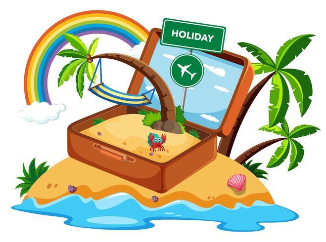 Valigia in icona di vacanza vettore
