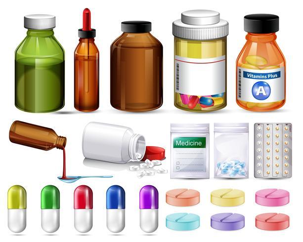 Set di pillole e contenitori di medicinali vettore